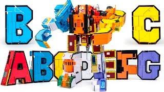 getlinkyoutube.com-Alphabet Transformer Warriors A B C D E F G SevenForm BuilderRobot Docking Transformation