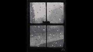 getlinkyoutube.com-Rainy Day Step by Step Acrylic Painting on Canvas for Beginners