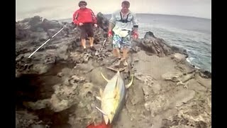 getlinkyoutube.com-94 kg and 73 kg Yellowfin off the rocks and a broken Stella 30.000!