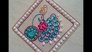 getlinkyoutube.com-DIY Kundan rangoli Design full video-peocock rangoli