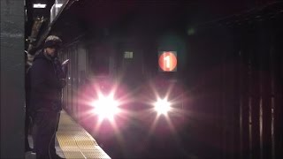 getlinkyoutube.com-NYC Subway HD 60 FPS: Rerouted 1 Express Trains @ Times Square–42nd Street (1/22/17)