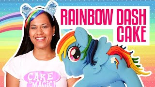 How To Make A RAINBOW DASH MY LITTLE PONY...CAKE! Vanilla cake and RAINBOW buttercream!