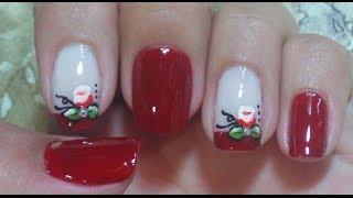 getlinkyoutube.com-Unhas Decoradas Francesinhas com Rosas Manual Bela e Simples Nail Art