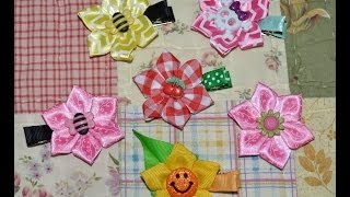 STAR FLOWER Pointed Folded Ribbon Sculpture Kanzashi Hair Clip Bow DIY Free Tutorial by Lacey