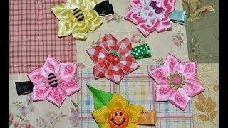 getlinkyoutube.com-STAR FLOWER Pointed Folded Ribbon Sculpture Kanzashi Hair Clip Bow DIY Free Tutorial by Lacey