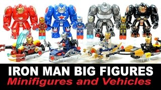 Iron Man Big Figures Suit of Armor & Minifigures plus Vehicles Unofficial LEGO Knockoff Set