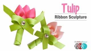 getlinkyoutube.com-Tulip Ribbon Sculpture - TheRibbonRetreat.com