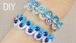getlinkyoutube.com-DIY Macrame Bracelets - Waves with Beads