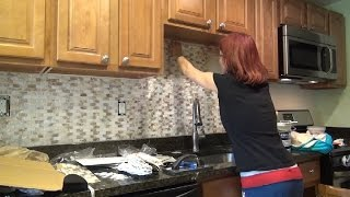 getlinkyoutube.com-Tile Kitchen Backsplash Installation - Mother of Pearl Shell  How To