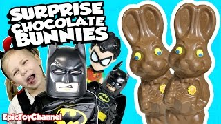 KINDER CHOCOLATE BUNNY SURPRISE w/ Lego Batman Movie & Harley Quinn Toys + Teen Titans Go Surprises