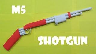 getlinkyoutube.com-How to Make a Paper M5 Mattle Nickel Shotgun that shoots rubber bands