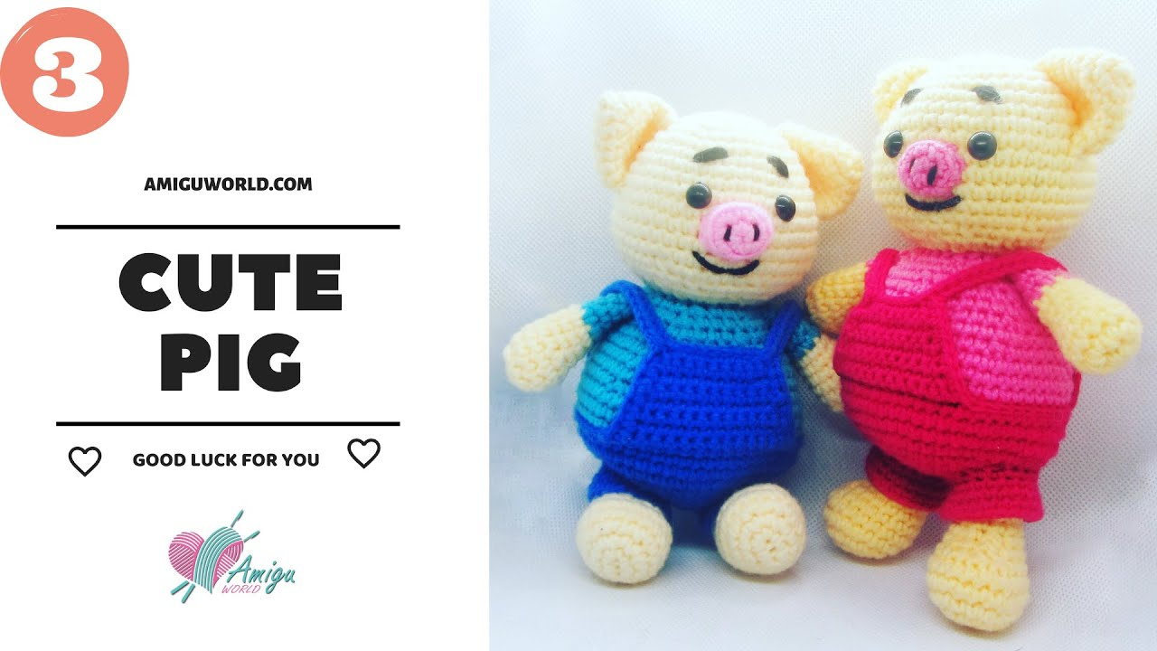FREE Pattern – How to crochet a cute PIG (P.3) | Crochet Legs and Arms