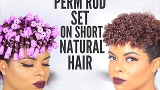 getlinkyoutube.com-Natural Hair | Perm Rod Set on Short Hair - No Heat