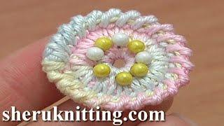 getlinkyoutube.com-Crochet Round Button Tutorial 2 Long Spike Single Stitches Long Reverse Single Crochet Trim