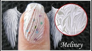 getlinkyoutube.com-WATER MARBLE NAIL ART | WHITE FEATHER ANGEL WING DESIGN | EASY HOW TO STEP BY STEP TUTORIAL