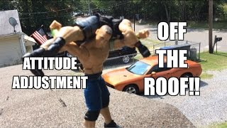 getlinkyoutube.com-GTS WRESTLING: Roof Rampage! WWE Figure Matches Animation! Mattel Elites PPV Event!