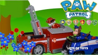 getlinkyoutube.com-Pups Save the Garden - Paw Patrol Chase's Cruiser and Marshall Fire Truck Toy Review