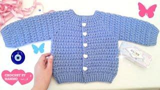 getlinkyoutube.com-جاكيت اطفال كروشي للاولاد والبنات من 0 حتى 12سنة #1 Seamless Crochet jacket for baby & childs/kids