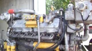 getlinkyoutube.com-Caterpillar 3412DITA engine start up and run after overhaul