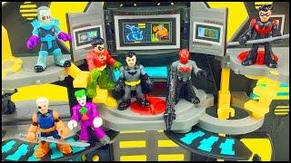 getlinkyoutube.com-Batman Imaginext Batcave Playset & DC Superfriends Series 1 Blind Bags Figures Robin Slade Red Hood