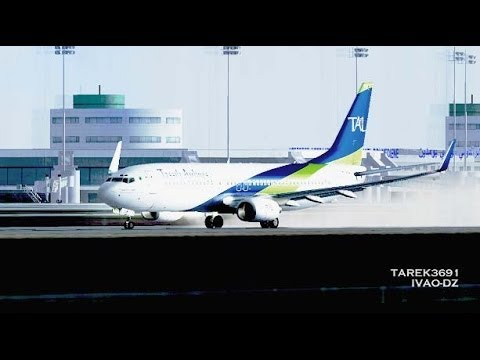 [HD] Tassili Airlines Boeing 737-800 dcollage piste 27 Alger pluie Rainy takeoff