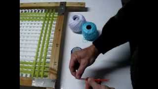 getlinkyoutube.com-Tapete de lana artesano, hecho con bastidor de madera.