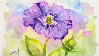 getlinkyoutube.com-Clematis in Watercolor Tutorial #lovesummerart