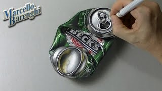 getlinkyoutube.com-How to draw a crushed can of beer 3D - hyper realistic art