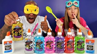 MOMMY CHEATED!! Blindfolded Slime Challenge Parents Edition