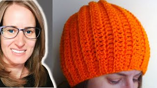 getlinkyoutube.com-Easy Ribbed Hat Crochet Tutorial - Can be made into a slouch