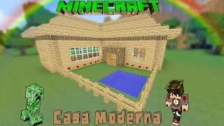 getlinkyoutube.com-Minecraft-Casa Moderna De Madera /Facil / Tutorial 1.8.3
