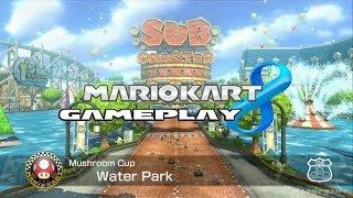 getlinkyoutube.com-Mario Kart 8 -  Waterpark  - Mushroom Cup - Luigi Gameplay [ HD ]