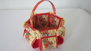 getlinkyoutube.com-CNY TUTORIAL NO. 12 - Chinese New Year Red Packet (Hongbao) Floral Basket