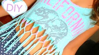 getlinkyoutube.com-DIY Clothes! Fringe Crop Top from T-Shirt for Summer