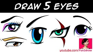 HOW TO DRAW 5 EYES | Art Drawing Tutorial!