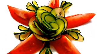 getlinkyoutube.com-HOW TO MAKE CUCUMBER FLOWER - LEAF & TOMATO GARNISH & VEGETABLE CARVING & ART IN CUCUMBER
