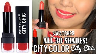 getlinkyoutube.com-City Color City Chic Lipstick SWATCHES (30 SHADES) - saytiocoartillero