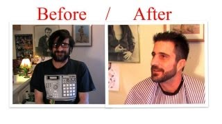 getlinkyoutube.com-Man Makeover : How to cut hair Trim your Beard with clippers scissors trimmer Mens Haircut
