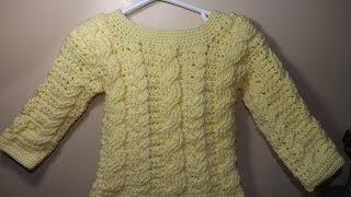 getlinkyoutube.com-Crochet cable baby sweater part 1 of 2 - with Ruby Stedman