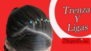 getlinkyoutube.com-Trenza y Ligas. Peinados infantiles para fiesta, Niñas, Novia, Quinceñeras, prom, quince