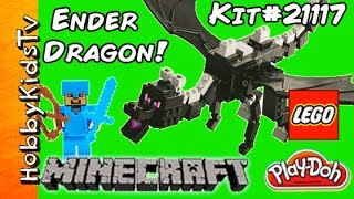 getlinkyoutube.com-Minecraft Lego Ender Dragon + Diamond Steve Battle! Kit 21117 HobbyKidsTV