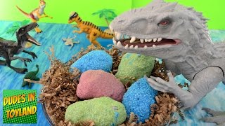 getlinkyoutube.com-Dinosaur eggs Jurassic World toys Indominus Rex surprise fizzing hatching magic dino