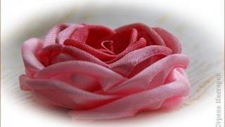 getlinkyoutube.com-Как сделать цветы из ленты  за 5 минут