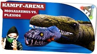 getlinkyoutube.com-Mosasaurus vs. Plesio lvl 1.000 vs. Sarco KampfArena ✪ Ark Survival Evolved: Gameplay German