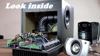 getlinkyoutube.com-Look inside Logitech Z-5500 5.1 Speakers + trying to remove sub grill