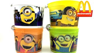 getlinkyoutube.com-2015 McDONALD'S MINIONS HALLOWEEN PAILS BUCKETS COMPLETE SET OF 4 HAPPY MEAL KIDS TOYS REVIEW