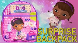 getlinkyoutube.com-Doc McStuffins Surprise Backpack Doctora Juguetes Surprise Eggs ドックはおもちゃドクター Toys Videos