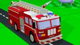 getlinkyoutube.com-Мультфильмы 3D: Пожарная машина и красный автомобиль. Развивающие мультики Зим Зум