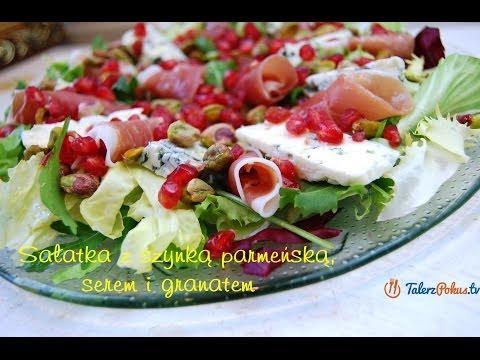 Sałatka z szynką parmeńską, serem i granatem