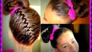 getlinkyoutube.com-Trenza Invertida con corbatin - Upside down Braid  and bowtie hairtutorial